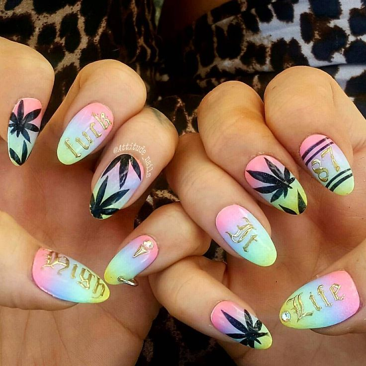Carnival Nails from weekend #attitudenails #carnivalnails #nottinghillcarnival #weed #kushnails #handpainted #ombrenails #fuckit #highlife