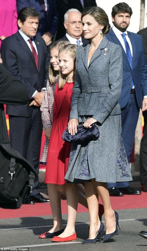 Queen Letizia of Spain, Leonor, Princess of Asturias, and the Infanta Sofía attend the National Day Military Parade 2017 on October 12, 2017 in Madrid, Spain.