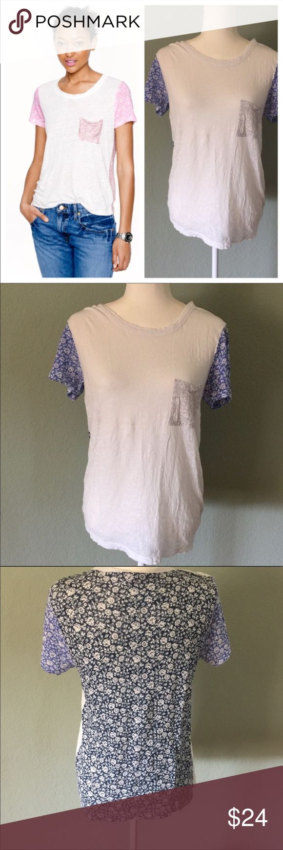 """J.Crew Ditzy linen tee J.Crew ditzy linen tee.  Cute white and blue floral linen T-shirt.  Loose fit, light gray floral front pocket, medium blue floral sleeves, navy blue floral back.  Nice light linen material.  Size medium.  Approximate measurements 18"""" armpit to armpit, 24.5"""" length.   Please note - linen is not smooth like cotton and the tee has a """"distressed"""" type of look. EUC J. Crew Tops Tees - Short Sleeve"""