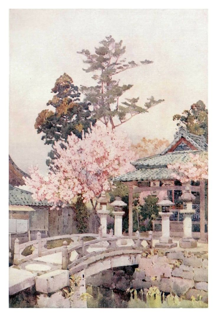 """""""A Shrine at Kyomidzu"""" by Ella Du Cane really shows off some of the wonderfully meticulous and seemingly natural planning that goes into a traditional Japanese garden."""