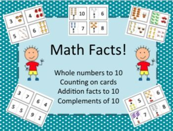 Fun math cards to practice math facts: whole numbers, counting on, addition, combinations of 10