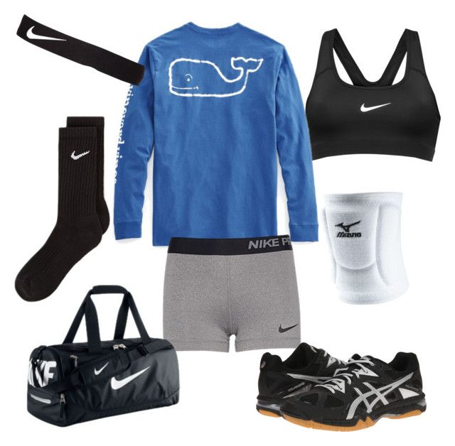 """Volleyball practice"" by sierrah-2 on Polyvore featuring NIKE, Vineyard Vines, Asics and Mizuno"