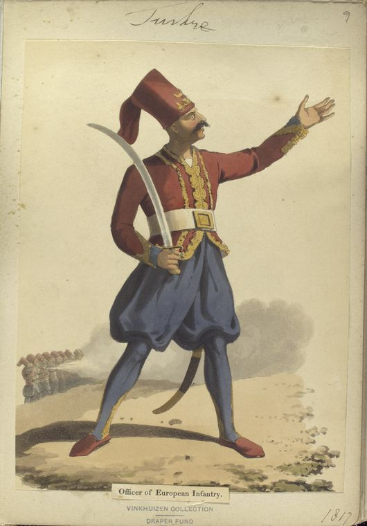 Officer of European army. The Vinkhuijzen collection of military uniforms / Turkey, 1812. See McLean's Turkish Army of 1810-1815.
