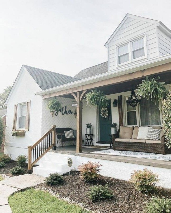 Farmhouse Is My Style On Instagram Cute Modern Farmhouse Porch Ideas Love The Dark Wicker Furni In 2020 Porch Design Farmhouse Front Porches Modern Farmhouse Porch