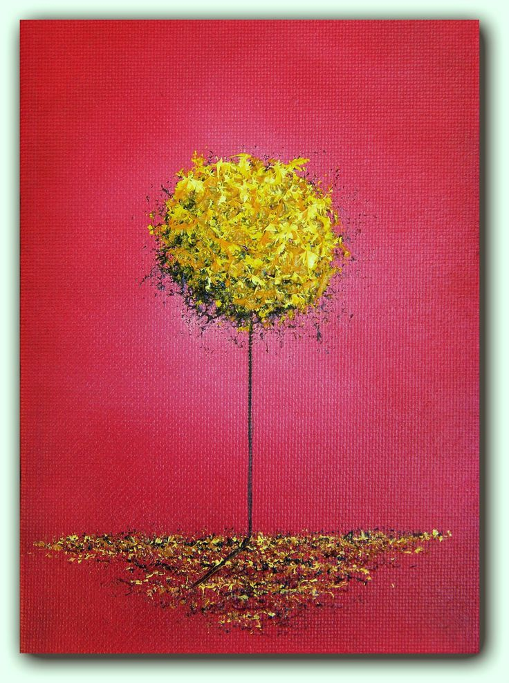 Original Abstract Painting, Contemporary Tree Art, Fantasy Dreamscape Oil Painting, Yellow Tree Abstract Landscape, Whimsical Art, 5 x 7. $19.95, via Etsy.