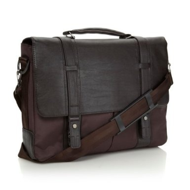 Brown Double Shield Clasp Briefcase