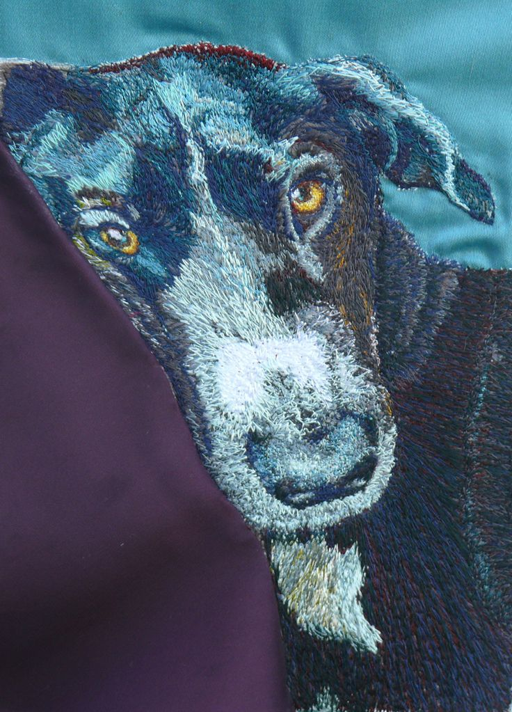 Luna Freehand Machine Embroidery Portrait by Art Sea Craft Sea