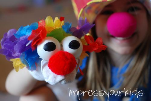 Make a circus clown puppet from a sock and ping pong balls! I love his funny eyes!