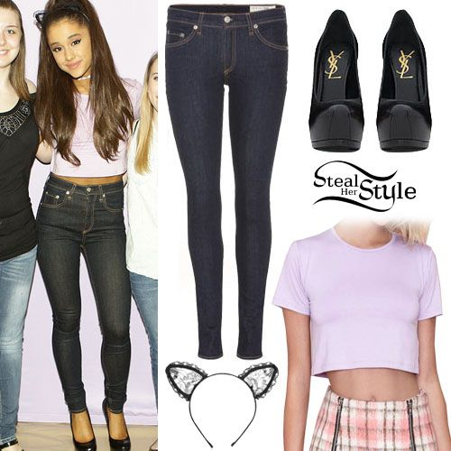 "met fans in Atlanta on Tuesday for her ""The Honeymoon Tour"" meet & greet wearing a Nasty Gal After Party Vintage Betina Crop Top (sold out), a Maison Michel Heidi Lace Cat Ears Headband (sold out), her favourite Rag & Bone Justine High Rise Legging Jeans ($187.00) and her Saint Laurent Classic Tribute Pumps ($795.00)."