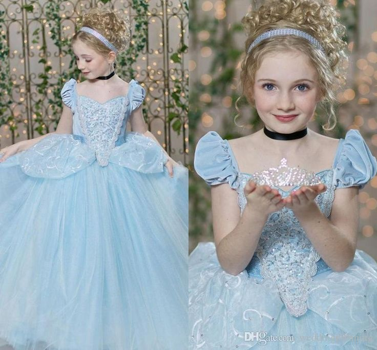>> Click to Buy << Cinderella Pageant Dresses  Short Cap Sleeve Pleats Sequins Lacing Sky Blue Kids Ball Gown Flower Girl Dress Tulle  Prom Dress 8 #Affiliate