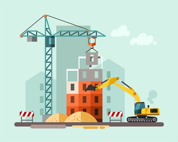 Construction site, building a house - flat illustration.
