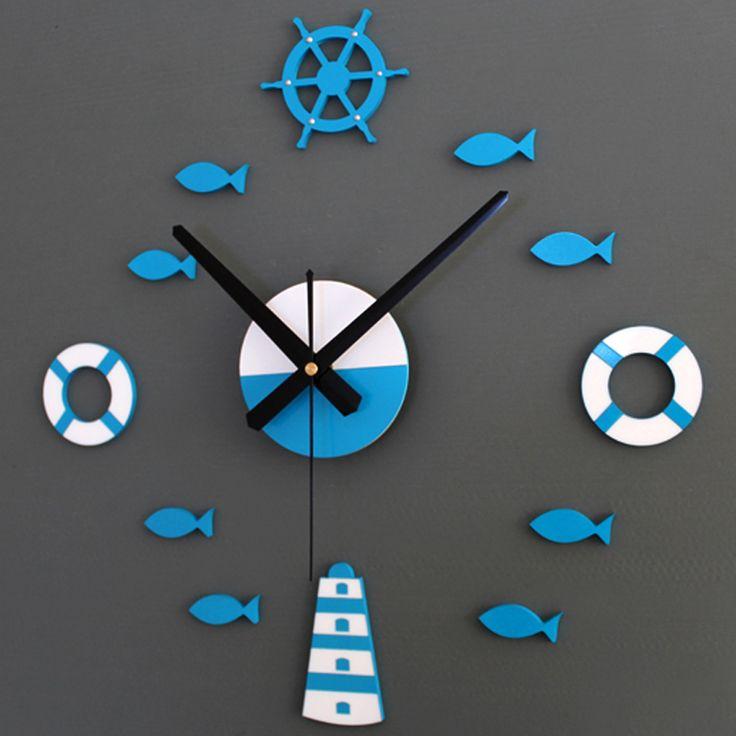 Large 3D DIY Wall Clock Mediterranean tower Rudder Lifebuoy Small bell Quartz Clocks Watch Decoration Home for Living Room