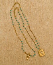 the Graham in turquoise and gold with cross book locket