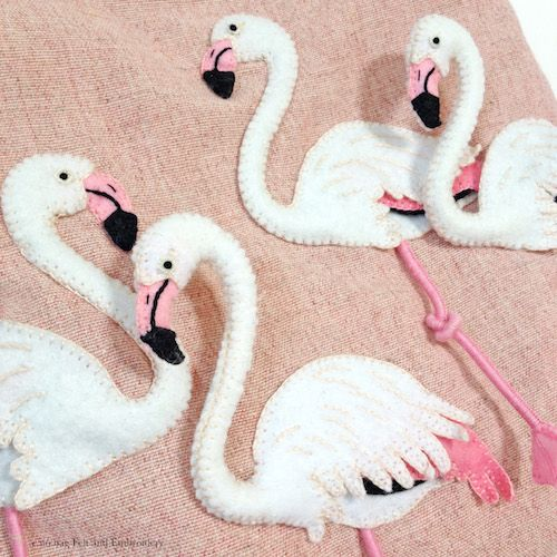 "Flamingo felt applique and embroidery mini bag by e.no.bag ""フラミンゴ ノ バッグ "" #flamingo #felt #embroidery"