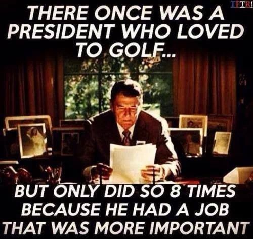 There once was a president who loved to golf ... but only did so 8 times because he had a job that was more important.