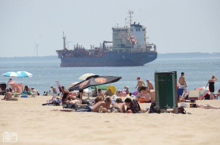 Ships passing the Beach of Vlissingen, Zeeland, Netherlands