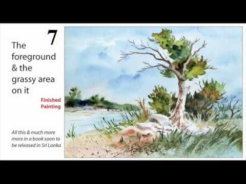 art lesson watercolour step by step tree scenery