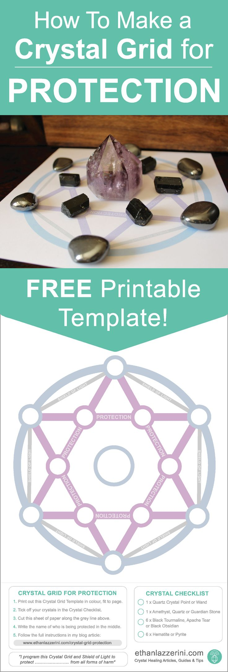 Crystal Grid Template: Free Printable with Guide for How to make a Crystal Grid for Protection.