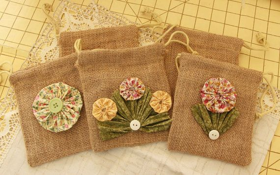 Burlap Gift Bags with YoYo Flowers and Buttons by LadyLyBoutique