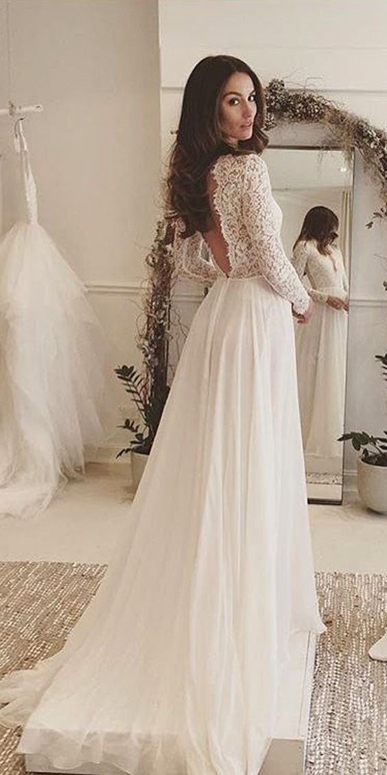 Elegant A Line Lace V Neckline Chiffon Wedding Dress Open Back with Long Sleeves