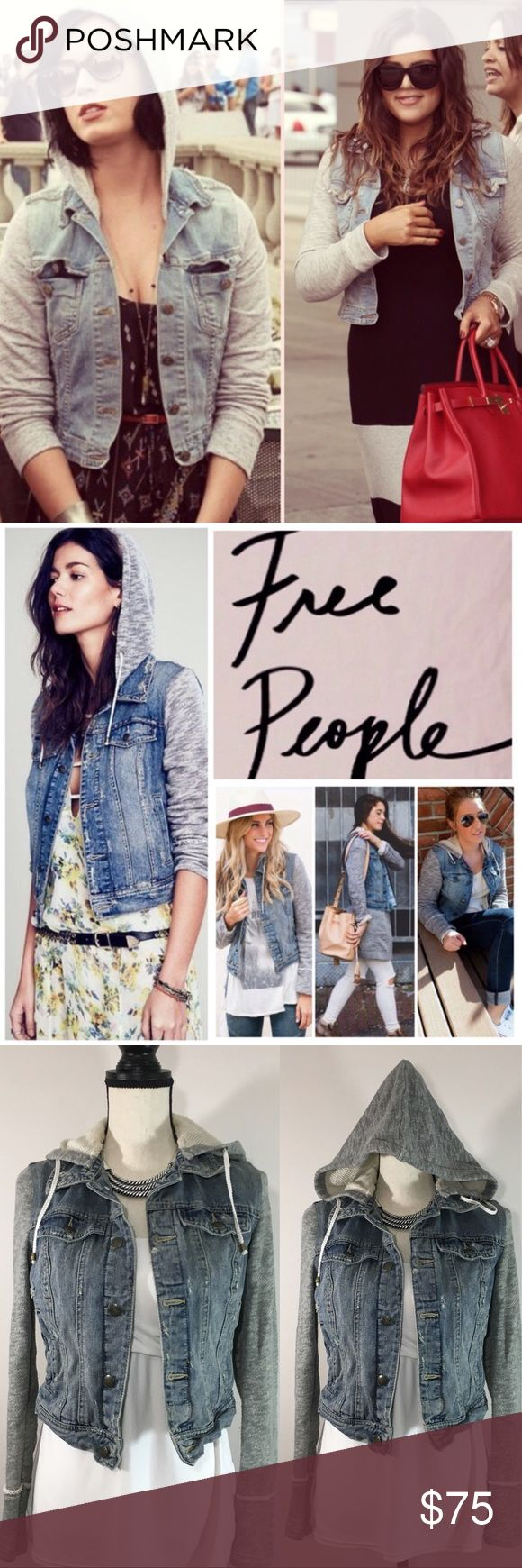 """Free People Knit Hooded Distressed Denim Jacket Free People 'Knit Hooded Denim Jacket' in Indie Wash  100% cotton, machine washable, 17.5"""" armpit to armpit (35"""" all around), 18"""" arm inseam, 20"""" length, removable hoodie, front breast pockets with button flap button closure, front welt pockets, contrast fabric sleeves and hood, drawstring hood, adjustable button tab at hem, intentional distressing throughout, measurements are approx.  This is a great piece with a cool edge--a celeb fave!  Worn…"""