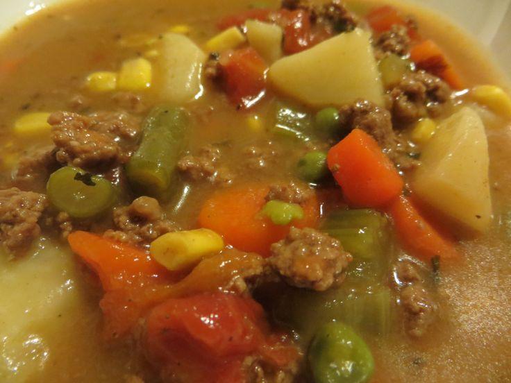 Low-Calorie Hamburger Veggie Soup