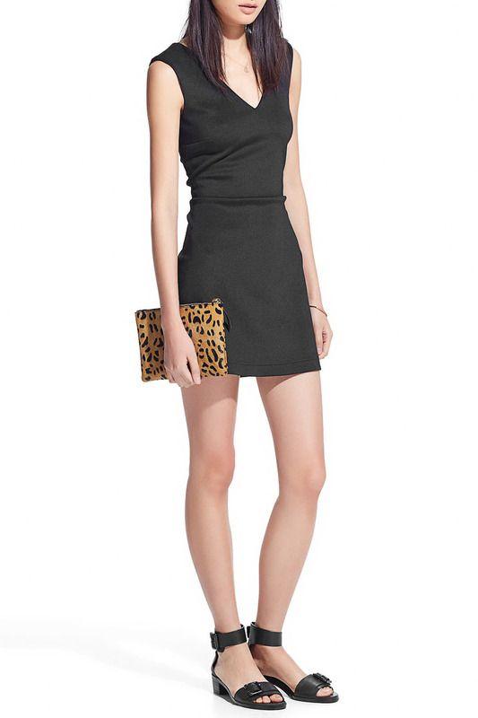 Черное трикотажное платье-футляр длины мини