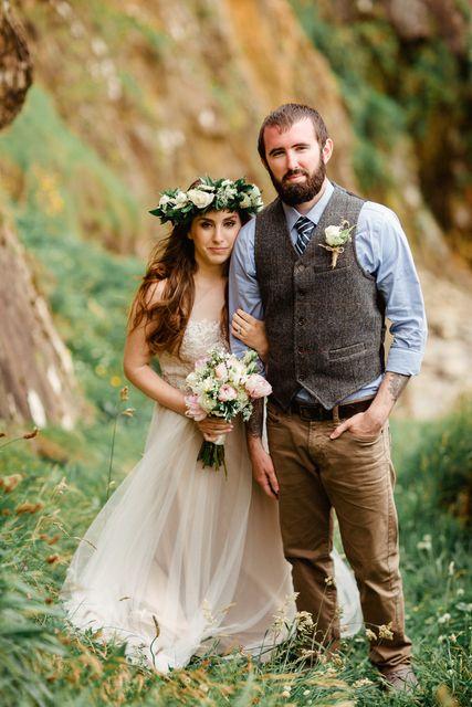 bohemian wedding style Elope Ireland floral head wreath groom's tweed vest