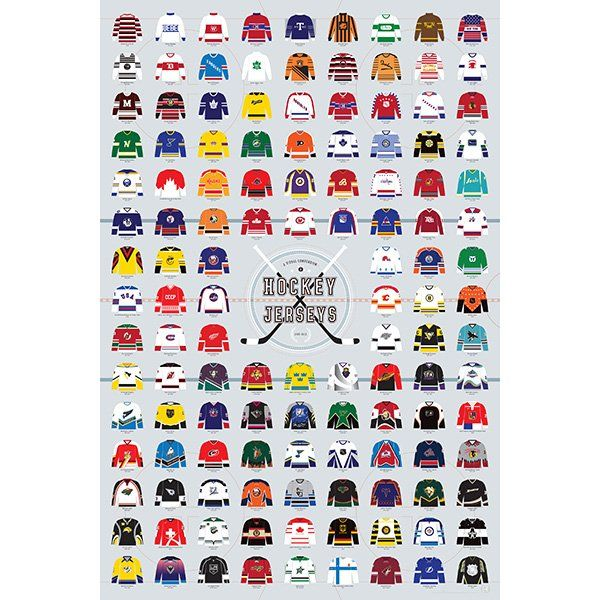 VISUAL COMPENDIUM OF HOCKEY JERSEYS Hit the ice with this hand-drawn history of hockey's most fashionable (and foul-worthy) jerseys! This cherry-picked check-list of the NHL's most striking sweaters—and a few from Canadian, minor, and Olympic teams as well—skates through 110 years of high-sticking history. They say you miss 100% of the shots you don't take, so don't lose out on this chance to score big with the hockey fan in your life. FSC certified paper and vegetable-based inks.