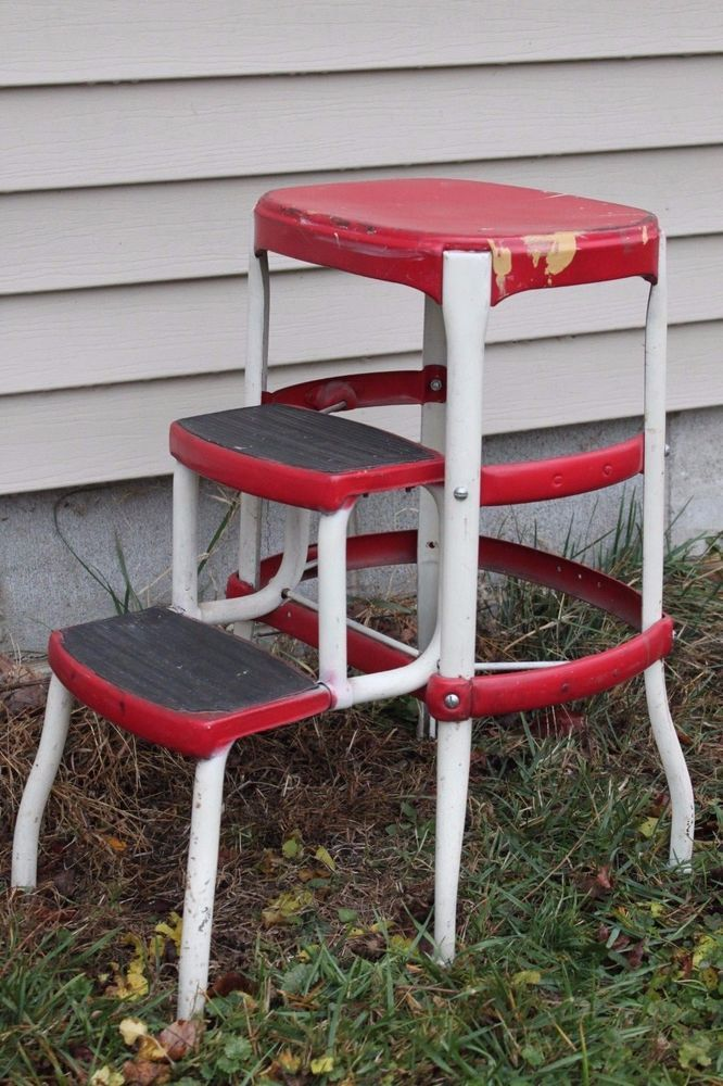 Vintage Red White Cosco Mid Century Kitchen Step Stool