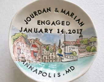 Unique engagement gift ring holder for couple custom portrait