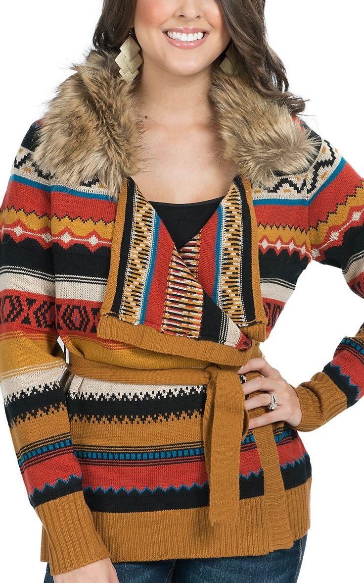 Powder River Women's Rust Aztec Stripes with Fur Collar Sweater Knit Cardigan