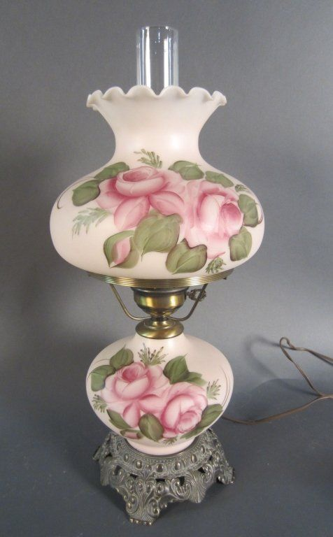 Victorian Parlor Lamp : From the estate of John MCDonald a hand painted Gine With The Wind Style lamp. Electrified