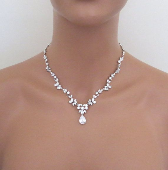 I can't wait to wear this!!!   Bridal jewelry set, Wedding necklace set, Bridal necklace, Wedding jewelry, Crystal necklace earrings, Rhinestone necklace earrings