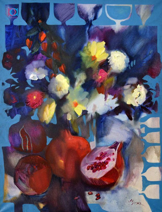 Vasile Sitari - Natură moartă cu rodii / Still life with pomegranates, 80 x 60 cm, ulei pe pânză / oil on canvas