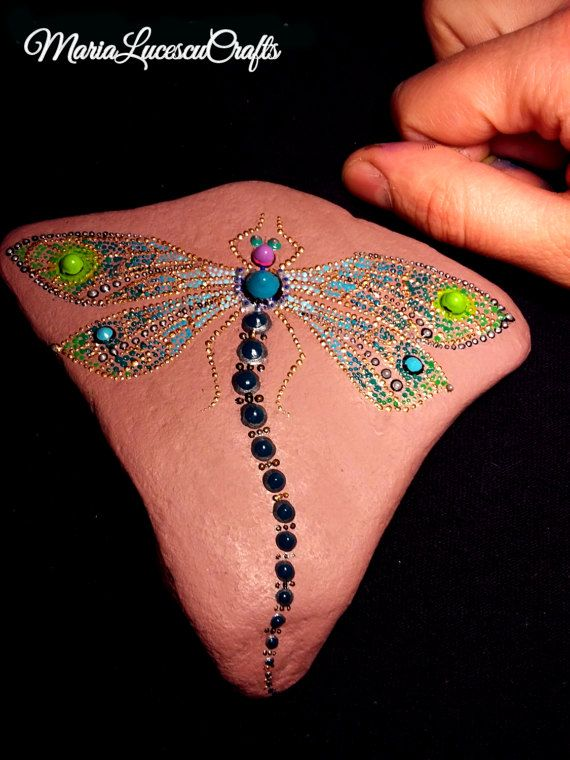 Hand-painted Dragonfly jewerly style on by MariaLucescuCrafts