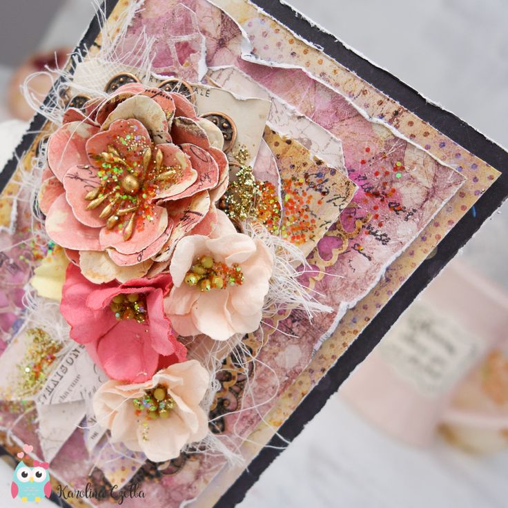 Sweet and shiny full of paper flowers from Prima Marketing :) #cardmaking #loveclippings #wildandfree #scrapbooking #papercraft