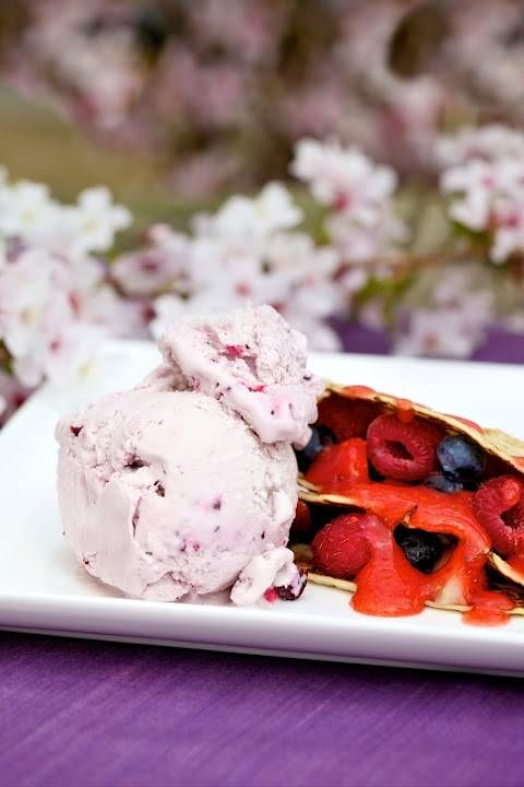 Pancakes with fruit coulis and Kelly's of Cornwall Clotted Cream & Blackcurrant Ice Cream