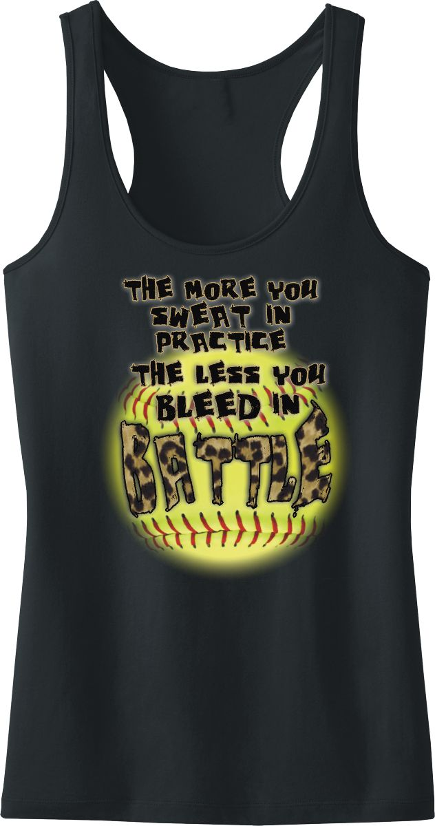 """Fastpitch Softball Leopard Battle Racerback Tank Top, Our hot new design for the 2015 softball season is an optic yellow softball background with leopard print that states, """"The more you sweat in practice the less you bleed in battle"""".  This is a nice, cool, cotton tank that's great for wearing on the practice field or anywhere else that you want to showcase your passion for fastpitch softball."""
