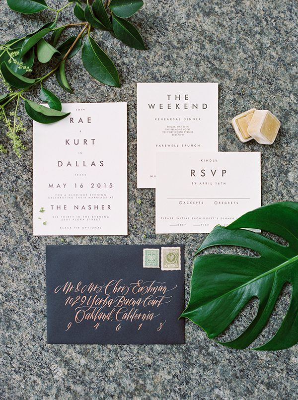 We like the minimal font and layout. Could use a little more interest on some element of the invite. The calligraphy is a bit much--would want more modern writing on envelope