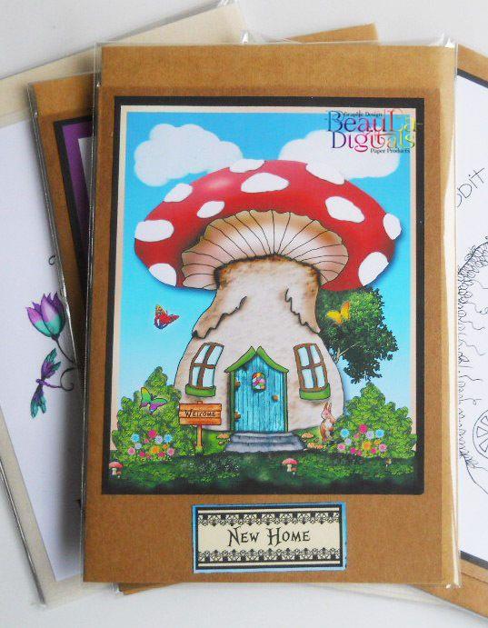 House Warming Card - New Home Greeting Card   - Fairy Mushroom House