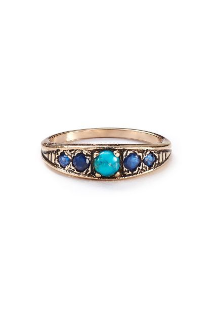 Turquoise and Sapphire Band in 14k Rose Gold - anthropologie.com