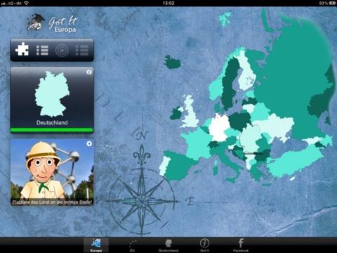 """""""Got it – Europa"""" ist eine Lernanwendung für alle Altersklassen, mit der du die einzelnen Länder und Hauptstädte von Europa spielerisch entdecken kannst. Außerdem wird die Europäische Union und der Euro-Raum vorgestellt."""