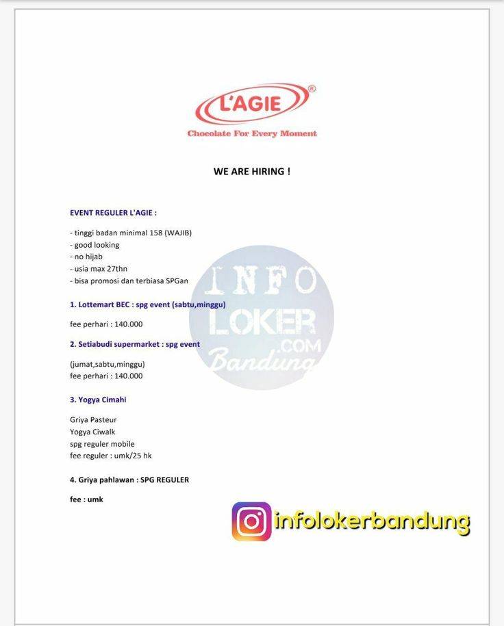 Lowongan Kerja Event Regular L'AGIE Cokelat Bandung November 2017