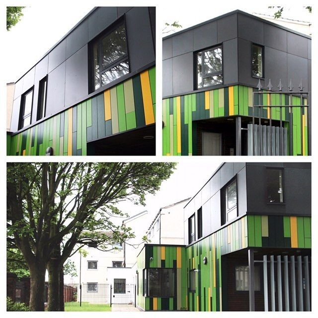 John McCall Architects, Shalcross Court. Sheltered housing scheme with multi-coloured cladding
