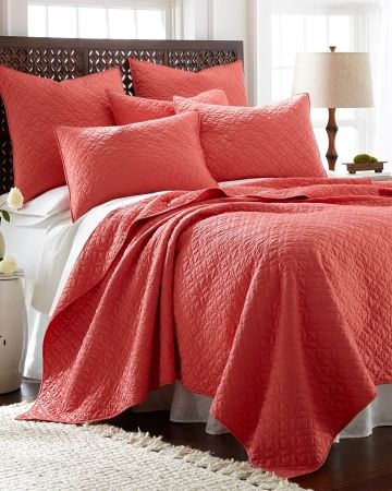 Solid Coral Quilt Nina Campbell Matte Satin Aria Quilt Collection - Coral, Main View