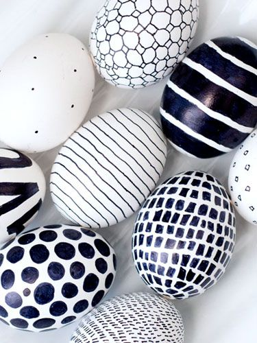 A black Sharpie is the only tool you need to create striking black-and-white eggs in whatever bold graphic you like.