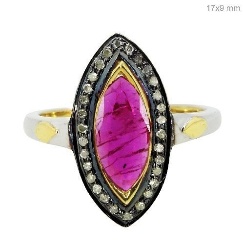 925 Sterling Silver Marquise Gemstone Ruby Ring 14k Gold Studded Diamond Jewelry