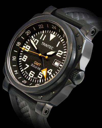 ZULU-05-GMT Features: • 316L Stainless Steel Case • Durable Black PVD Finish • Screw Down Crown • Water Resistant to 10 ATM/330 ft/100m • Quality Swiss GMT Quartz Ronda Movement 515-24 • Independently Set 24 Hour Hand Date Display • Luminescent Hands and Markers • Silicone Rubber Strap • Scratch Resistant Mineral Crystal • 1 Year Warranty • Approx 3 Year Battery Life • US Design Patent: US D 632,593