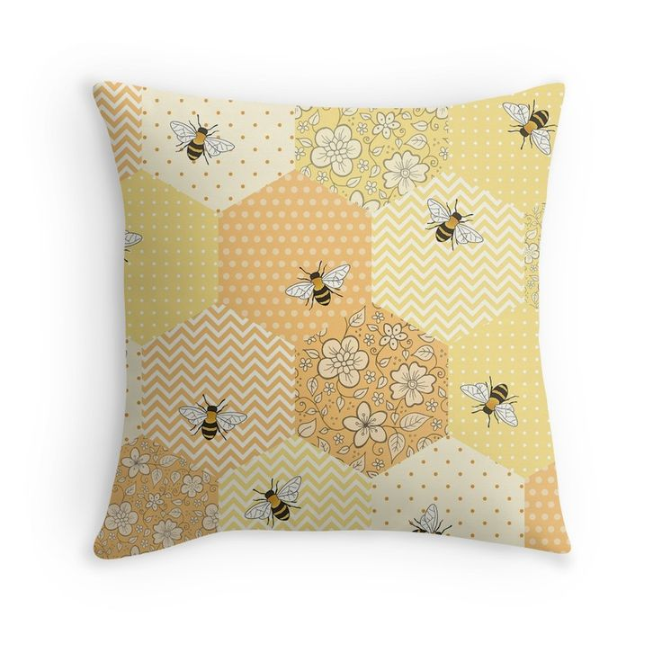 Patchwork Bees pattern - available on throw pillows and many other products on Redbubble including homeware, apparel, cases and skins, wall art and more!  Design by Hazel Fisher Creations.